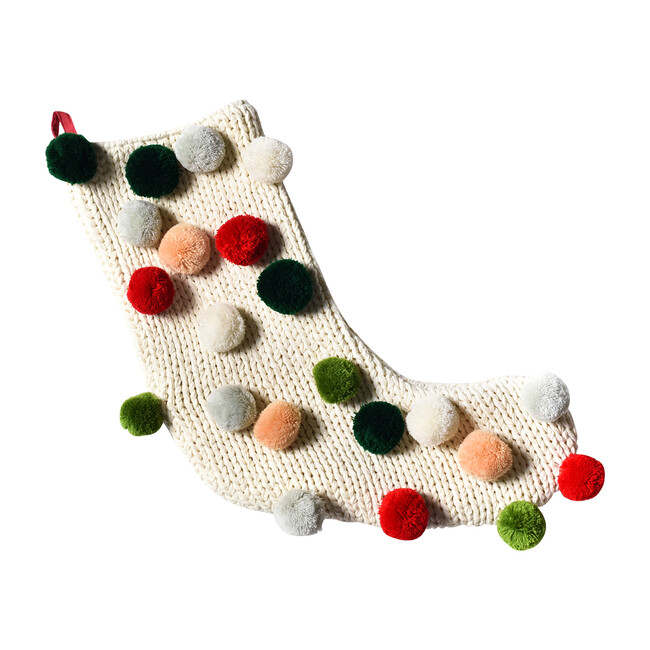 Knit Stocking With Pom Poms