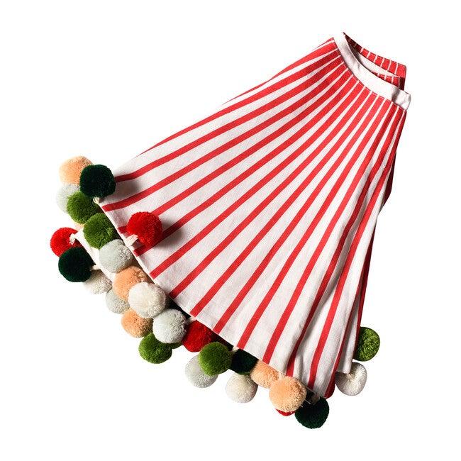 Striped Tree Skirt With Pom Poms, Red