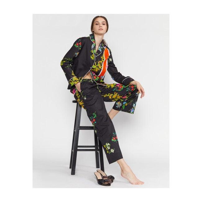Women's Botanical Print Pajama Shirt, Black Floral