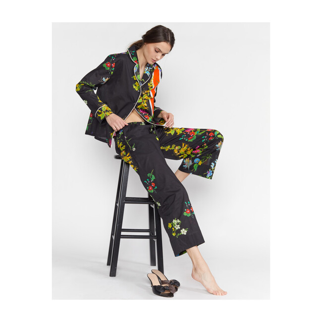 Women's Botanical Print Pajama Pant, Black Floral