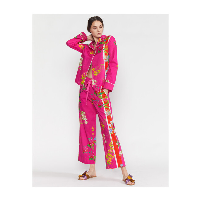 Women's Botanical Print Pajama Shirt, Pink Floral