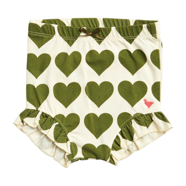 Organic Diaper Cover, Olive Hearts
