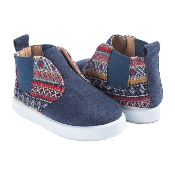 Navy Suede Boot, Native Print