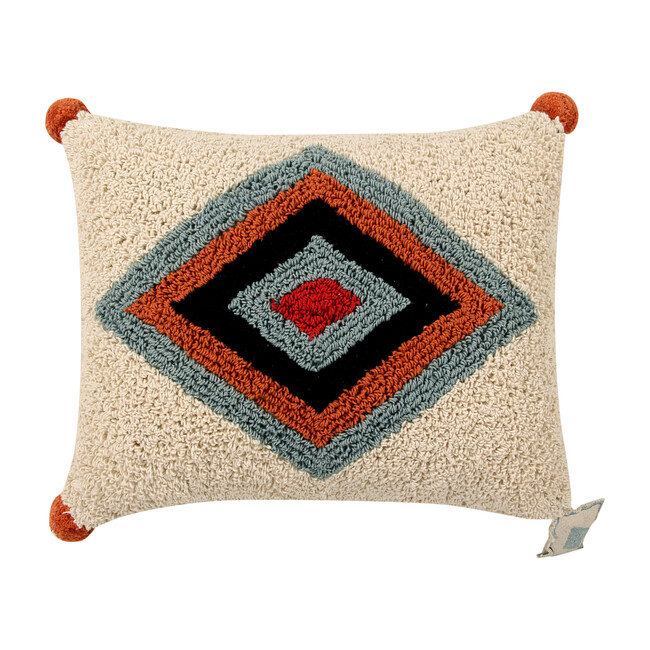 Rhombus Washable Pillow, Red/Aqua