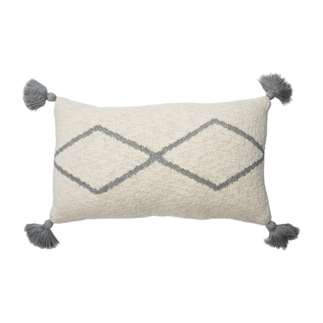 Little Oasis Knitted Cushion, Natural/Grey