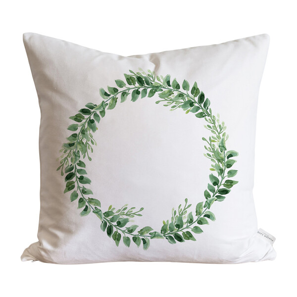 Greenery Wreath Pillow Cover, White