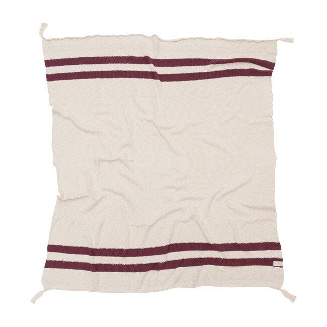 Striped Knitted Blanket, Burgundy