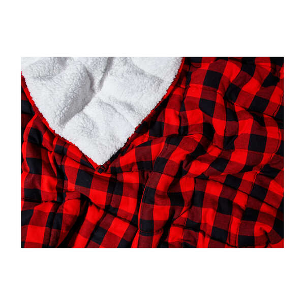 Flannel Weighted Sherpa Throw