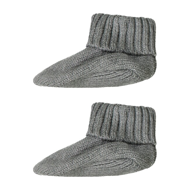 Shawl Collar Onesie & Booties, Grey & Blue