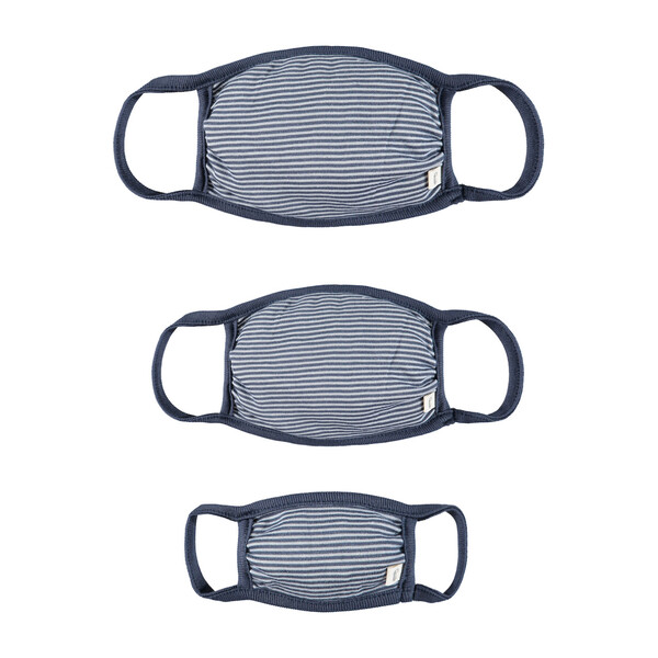 Adult Child & Mini Mask Set, Deep Blue Stripe