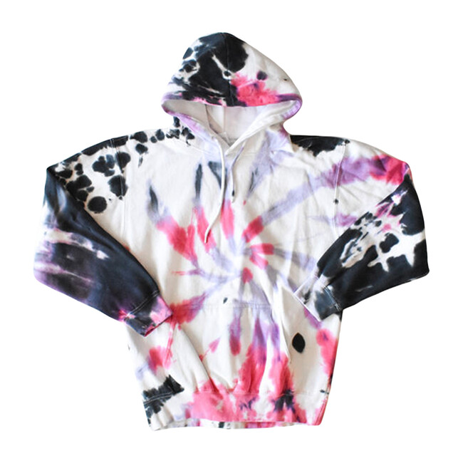 Tie Dye Hoodie, Black Cotton Candy - Sweatshirts - 1