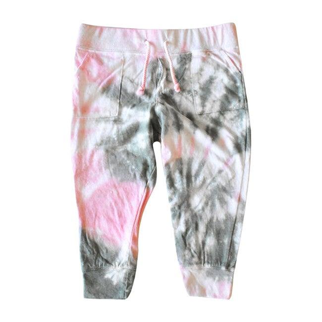 Tie Dye Joggers, Pink & Olive - Sweatpants - 1