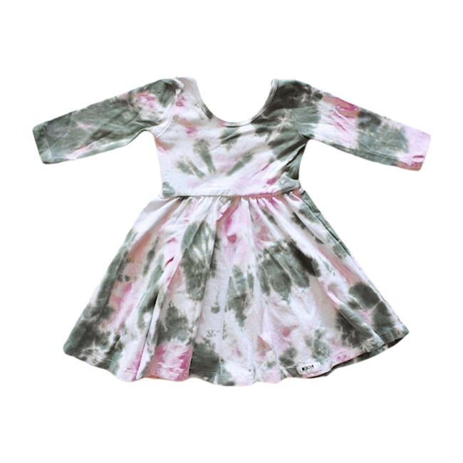 Twirly Dress, Olive & Pink Tie Dye
