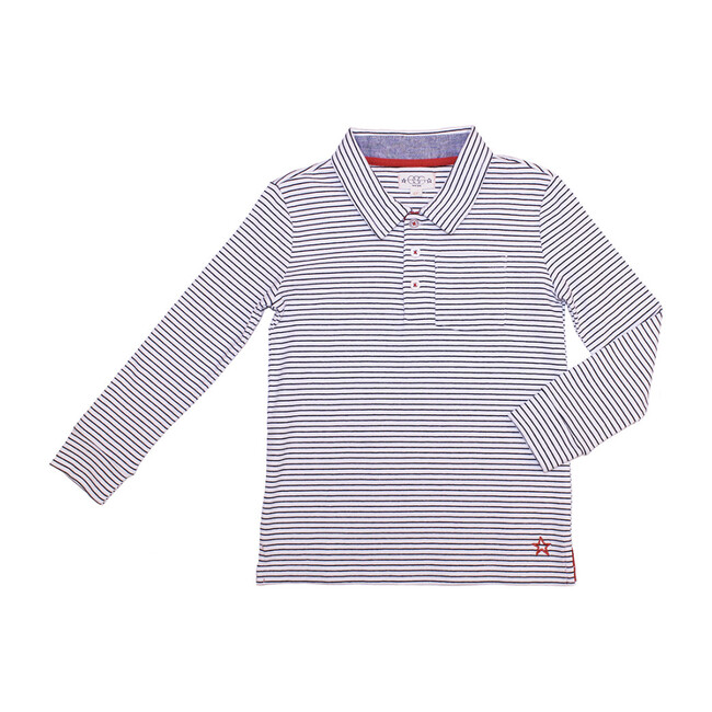Classic Polo, White & Blue Stripes