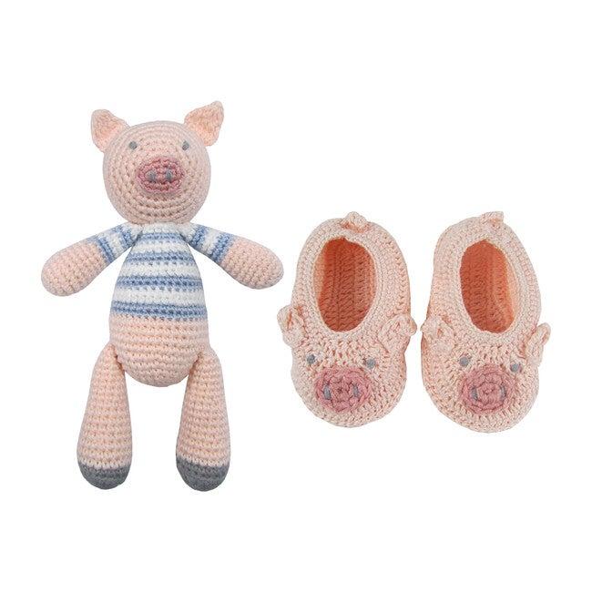 Crochet Pig Rattle Doll & Booties - Booties - 1