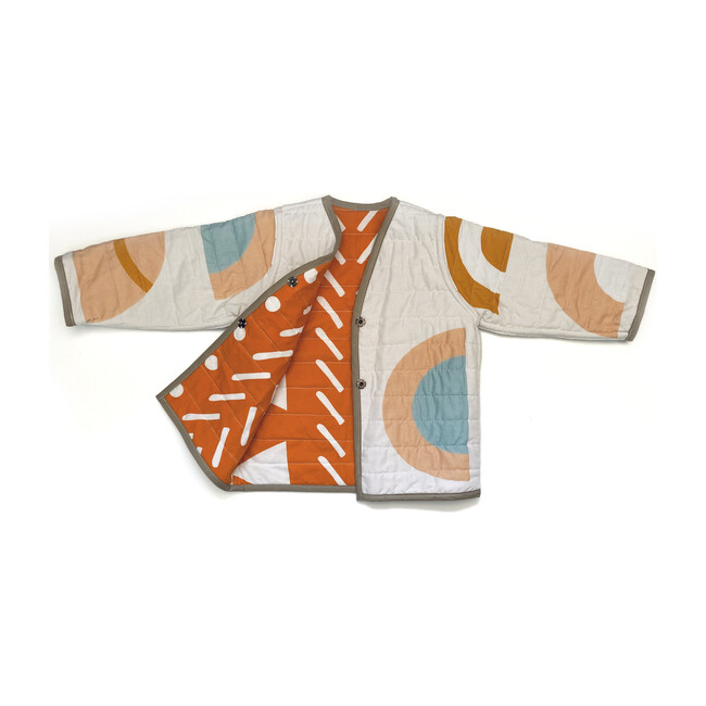Shapes & Angles Reversible Quilted Jacket, Orange