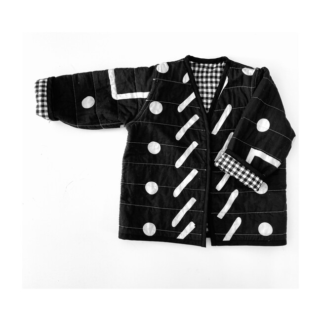 Patterns Reversible Quilted Jacket, Black