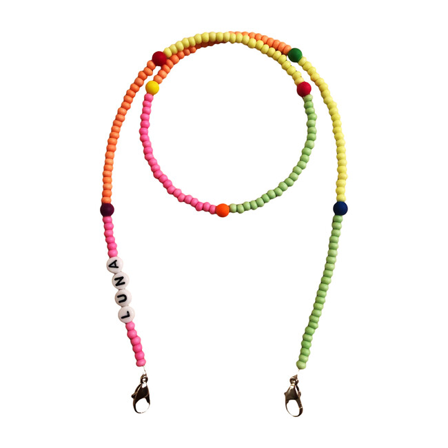 Beaded Face Mask Chain, Neon Multi with Accent Beads