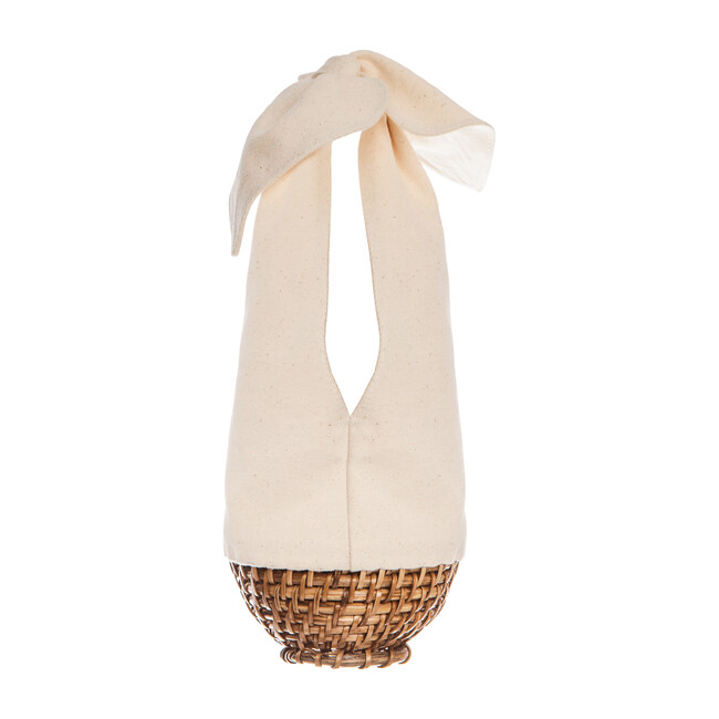 *Exclusive* Mini Knot Cotton-Canvas and Wicker Basket Bag, Cream