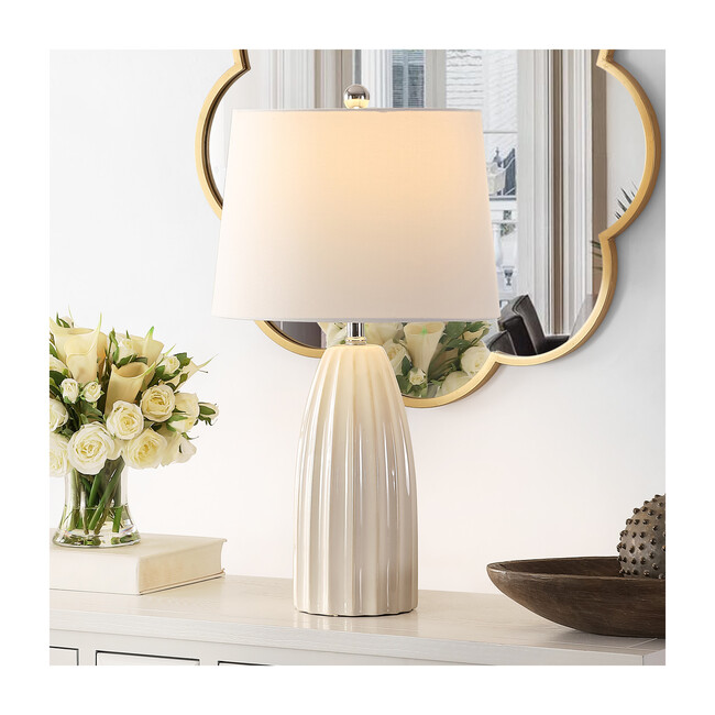 Kayden Ceramic Table Lamp, Cream