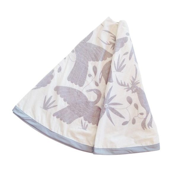 Otomi Embroidered Tree Skirt, Natural/Grey