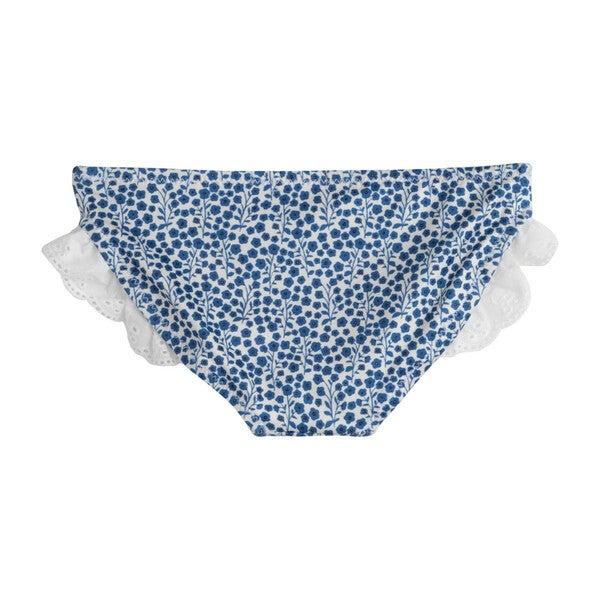Bridget Ruffle Bikini Bottom, Blue Ditsy Floral