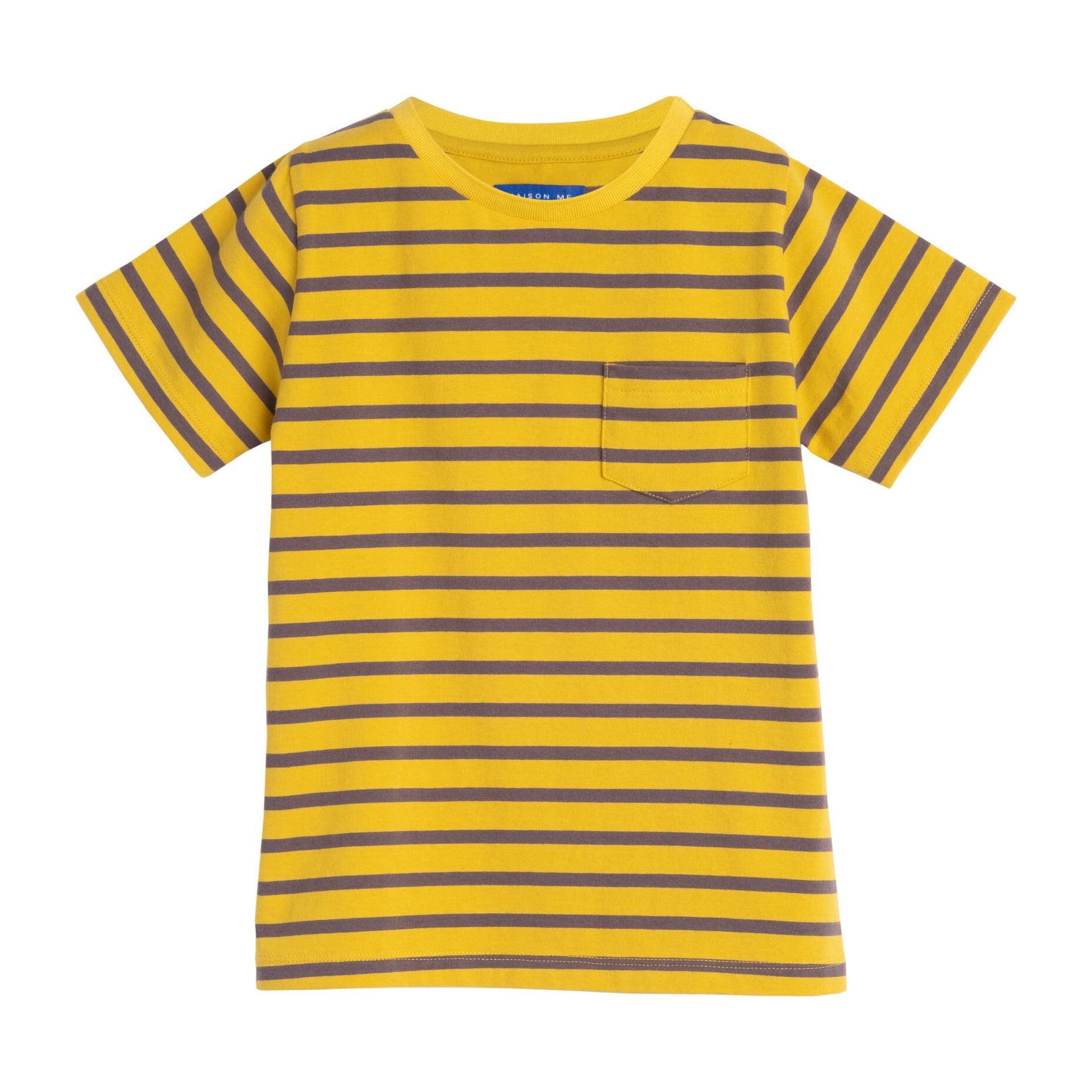 Avery Striped Pocket Tee, Mustard & Grey Stripe