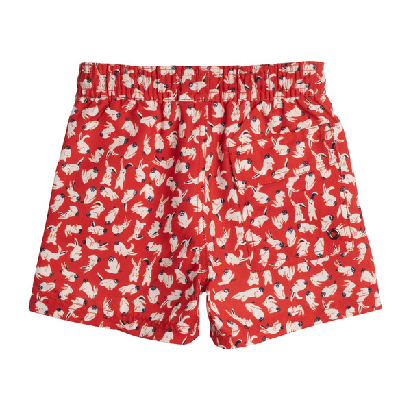 Brooks Boys Swim Trunk, Red Scattered Bunnies