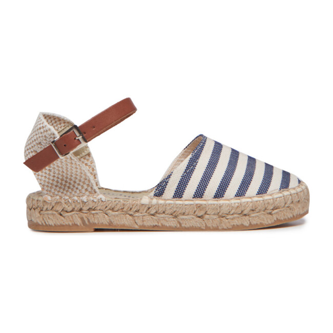 *Exclusive* Womens Linen Espadrilles with Leather Strap, Navy Stripes