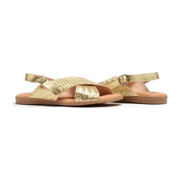 *Exclusive* Womens Braided Leather Sandals, Metallic Gold
