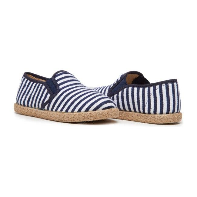 *Exclusive* Linen Slip-on Sneakers, Navy Stripes