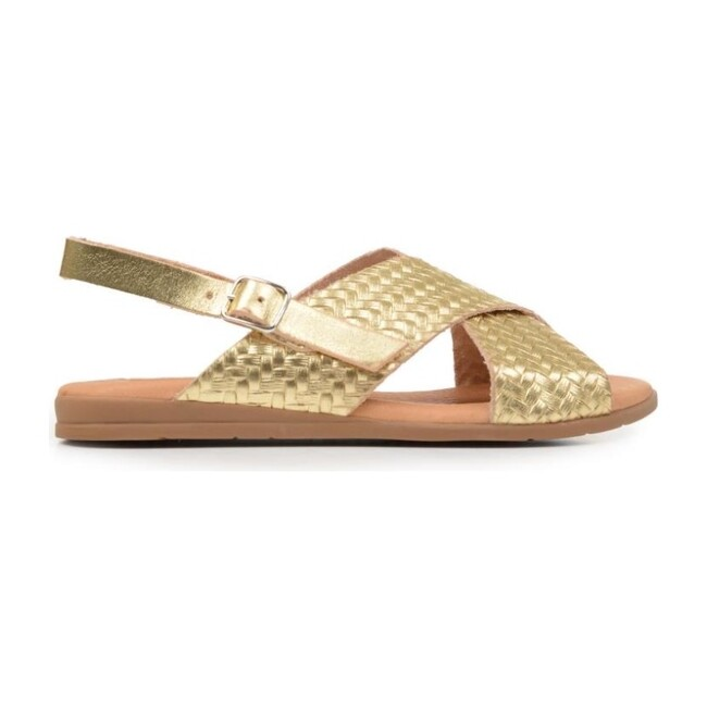 *Exclusive* Braided Leather Sandals, Metallic Gold