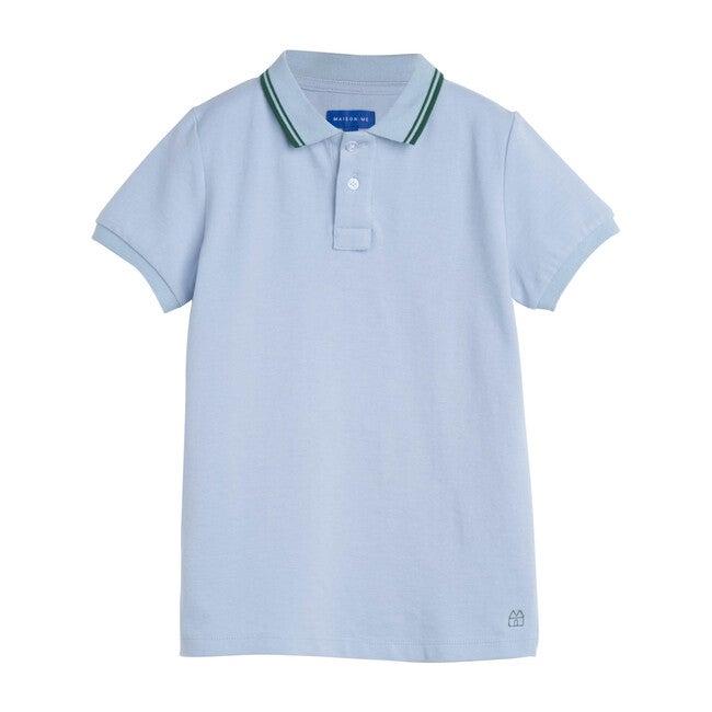 James Polo Shirt, Sky Blue with Green Trim