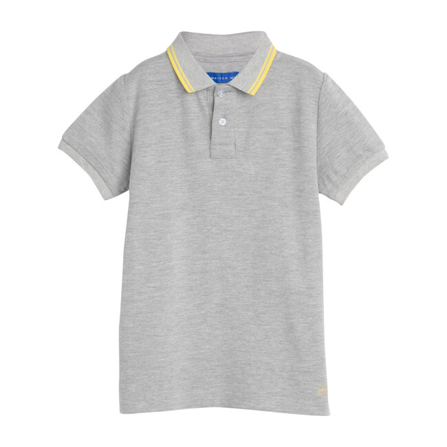 James Polo Shirt, Grey with Yellow Trim