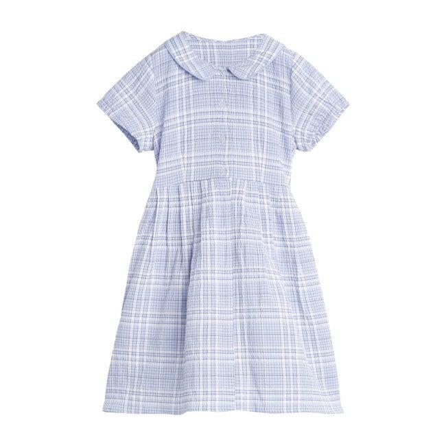 Emmalyn Short Sleeve Collared Dress, Powder Blue Plaid