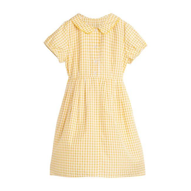 Emmalyn Short Sleeve Collared Dress, Marigold Check