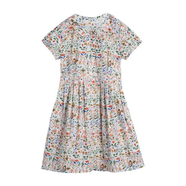 Emmalyn Short Sleeve Collared Dress, Flowers & Rabbits