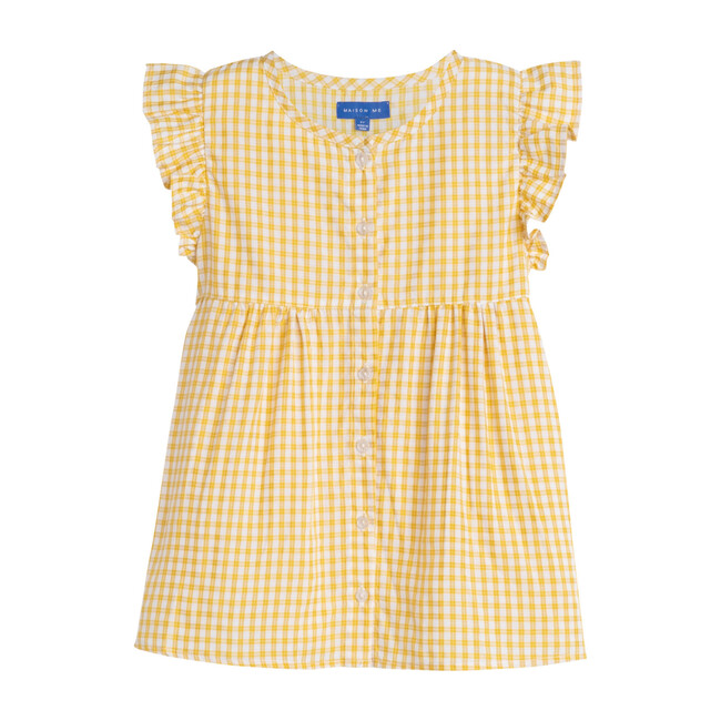 Lucy Ruffle Top, Marigold Check