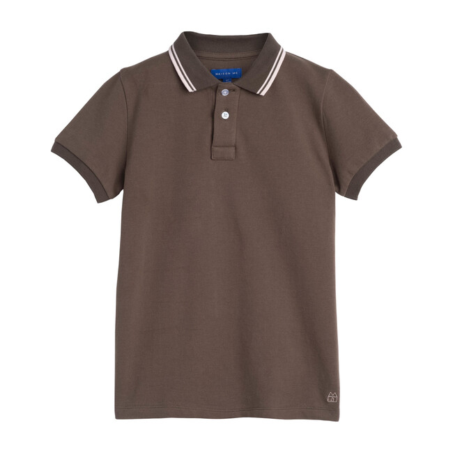 James Polo Shirt, Dusty Olive with Pink Trim