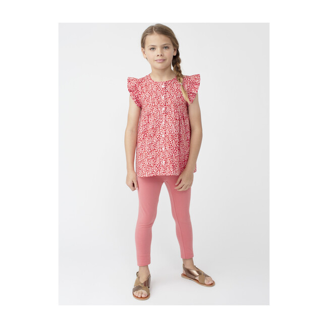 Lucy Ruffle Top, Pink Ditsy Floral