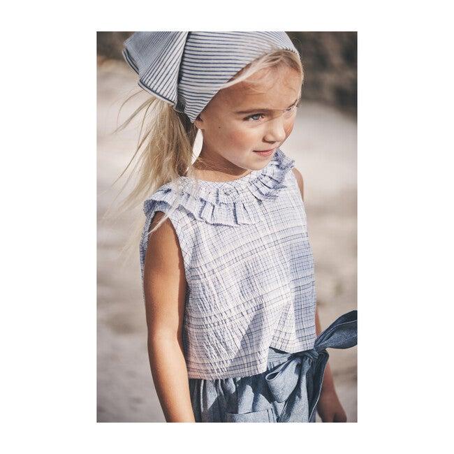 Maisie Ruffle Collar Top, Powder Blue Plaid