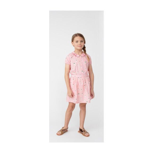 Stella Short Sleeve Pleated Collar Top, Pink Strawberries