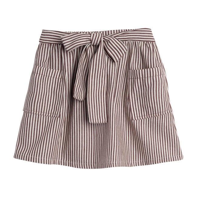 Willow Bow Skirt, Mocha Stripe