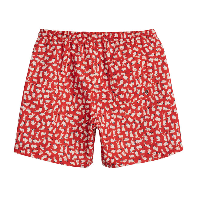 Zachary Men's Swim Trunk, Red Scattered Bunnies