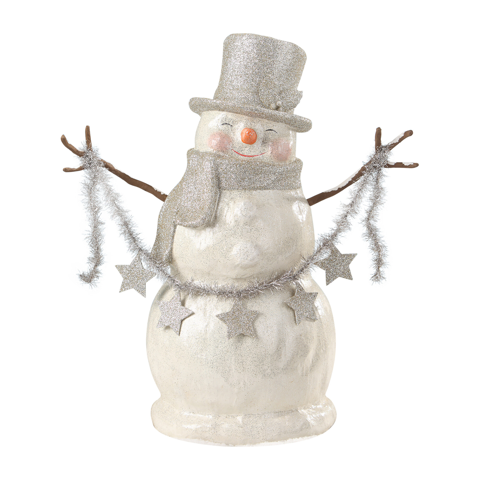 Platinum Smiley Snowman Paper Mache