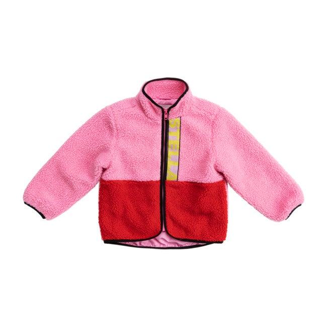 Colorblock Teddy Bear Jacket, Pink