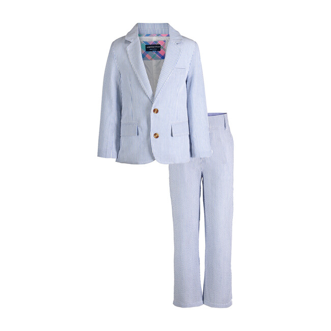 Two-Piece Suit Set, Blue Seersucker
