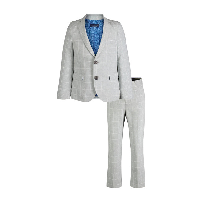 Two-Piece Suit Set, Grey Windowpane