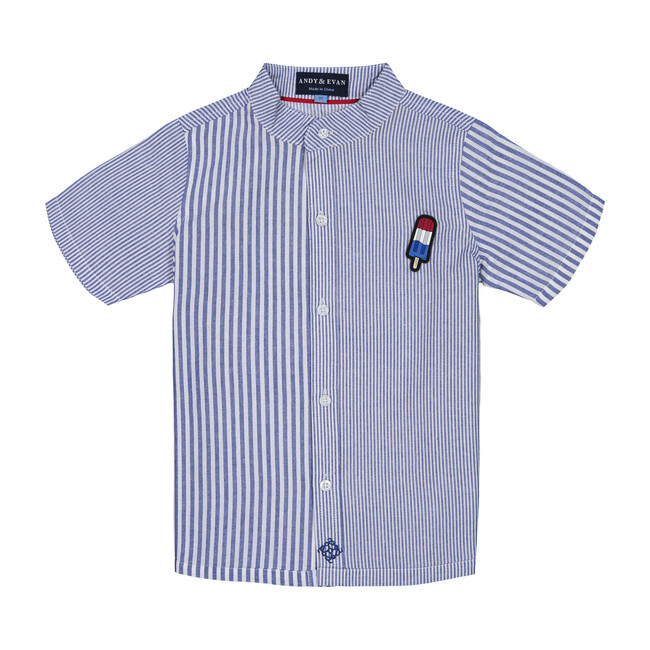 Knit Button Down with Popsicle Patch, Blue Stripe - Shirts - 1