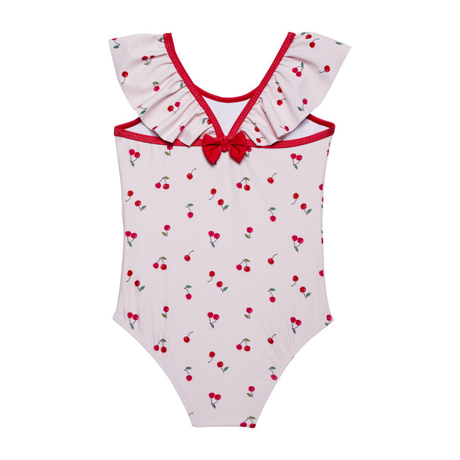 Baby Bow Back Swimsuit, Pink Cherry